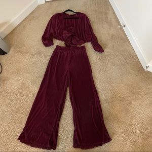 Burgundy Top and Bottom Set